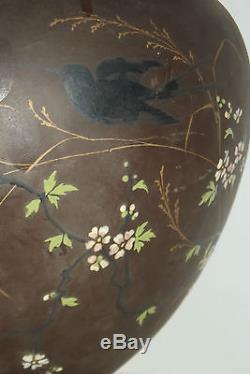 02B24 ANCIEN CACHE POT BRONZE JAPONISANT NAPOLEON III DÉCORS EMAILLES FIN XIXe