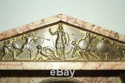 04B64 ANCIENNE HORLOGE TEMPLE GREC MARBRE ROSE / BRONZE DORE NAPOLÉON III XIXe