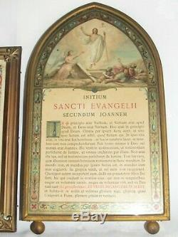 08F5 ANCIEN CADRE BRONZE AJOURE NAPOLÉON III XIXe CANONS D'AUTEL EGLISE RELIGION
