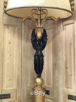 110cm Grande Lampe Bouillotte Empire Cariatide Napoléon III Femme Bronze Doré