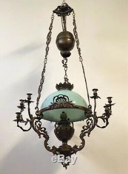 150x80cm Grande Suspension Opaline Lustre Lampe Bronze Napoléon III Rocaille