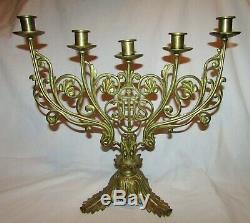 2 CANDELADRES D' EGLISE BRONZE doré 19ème siecle Antique Church chandeliers