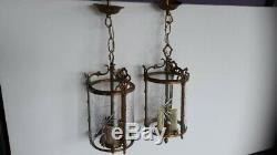 2 Suspension Lustre Lanterne Bronze & Verre Grave Napoleon III XIX Chandelier