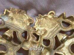 2 appliques / bougeoirs bronze doré Napoléon III feuillage & panier fleuri