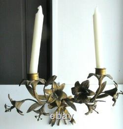2 appliques d'église Napoléon III, Noeud Louis XVI bronze, 8 fleurs de lys