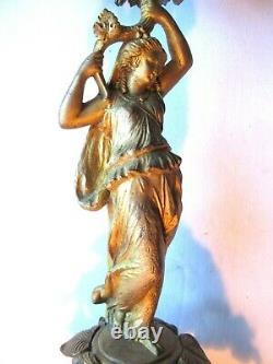 2 chandeliers candélabres, femme portant 4 bougeoirs, régule bronzé Napoléon III