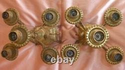 2 flambeaux / chandeliers en bronze doré Napoléon III Mascaron tête de femme