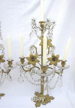 2 girandoles Napoléon III, bronze, pampilles cristal, fleurs de lys 4 bougeoirs