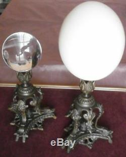 2 présentoirs tripode mascaron tête monstre Bronze Cabinet curiosités
