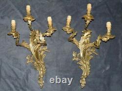 6 Appliques Bronze Dore Style Rocaille Louis XV Napoleon III Walle Sconces
