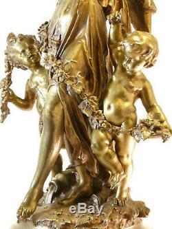 75CM Pendule BRONZE Mathurin Moreau Napoléon III marbre clock uhr reloj orologio