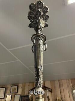 80cm Imposant Lustre Bronze Argenté XIXeme Louis XVI Napoleon III Empire Lampe