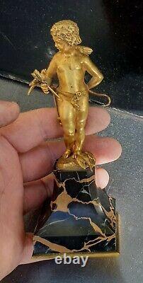 A. Sadoux Cupidon Angelot Bronze Dore Belle Qualite Carquois Arc Colombe 15.5cm