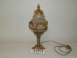 ANCIEN Plafonnier LAMPE en BRONZE VERRE Dépoli Louis XV XVI Napoléon III Rococo