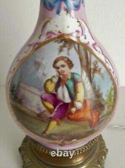 ANCIENNE LAMPE A PETROLE BRONZE & PORCELAINE DE PARIS ELECTRIFIEE Napoléon III