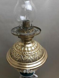 ANCIENNE LAMPE à PÉTROLE en porcelaine muses et bronze Napolèon III oil lamp
