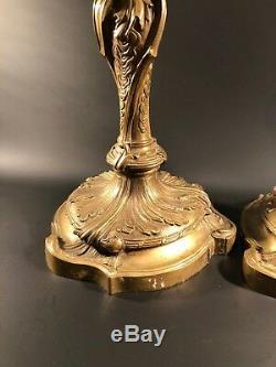 ANCIENNE PAIRE DE BOUGEOIRS STYLE LOUIS XV ROCAILLE Bronze EPOQUE NAPOLÉON III