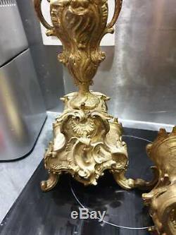 ANCIENNE PENDULE, HORLOGE, GARNITURE, BRONZE DORE, LOUIS XV, NAPOLEON III, XIXeme