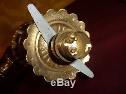 APPLIQUE LAMPE BEC DE GAZ Electrifié en Bronze & GLOBE. H 42 cm. Napoleon III
