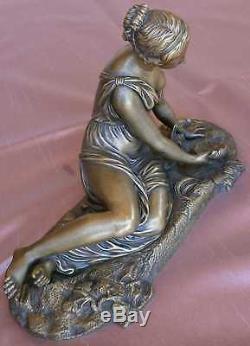 AUBE Bronze XIXème Jeune Femme à l' Antique sein & jambe dénudés