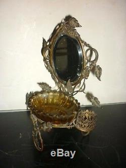 Ancien Baguier Nécessaire Toilette Miroir bronze Laiton 19 eme Napoléon III