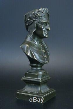 Ancien Buste bronze Le Dante epoque Napoleon III XIXème 20,5 cm