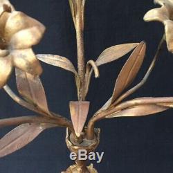 Ancien CHANDELIER EGLISE/CHAPELLE Bronze 3 Bras 19th Flowers Church Candlestick