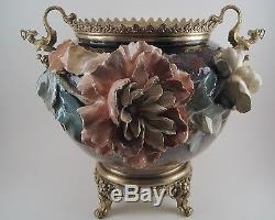 Ancien Cache Pot Jardinière Fleur Barbotine Monture Bronze Doré XIX Napoléon III