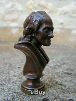 Ancien Cachet Ou Sceau En Bronze Representant Voltaire Barbedienne Antique Seal