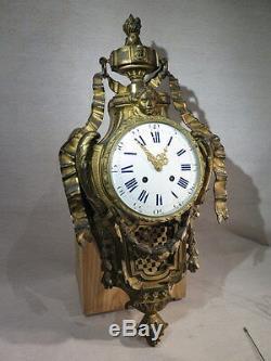 Ancien Grand Cartel Pendule Bronze Dore Epoque Napoleon III De Style Louis XVI