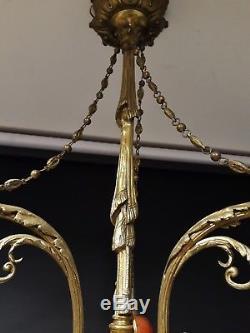 Ancien LUSTRE en bronze 3 tulipes pate de verre Français Napoléon III