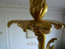 Ancien Lustre A 6 Bras Lumiere Bronze Style Louis XV Epoque Napoleon III XIX Em