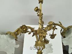 Ancien Lustre Bronze Napoléon III 4 Feux Tulipes Pate De Verre Fleurs