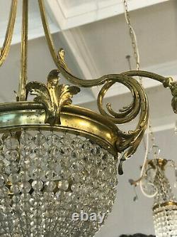 Ancien Lustre Corbeille Napoleon III Bronze Pampilles 6 Lumières /LUSTRE ANCIEN