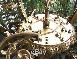 Ancien Lustre En Bronze Dore 10 Feux Style Napoleon III