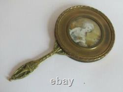 Ancien Miroir Face A Main Bronze Portrait Femme Miniature Peinture Sous Verre