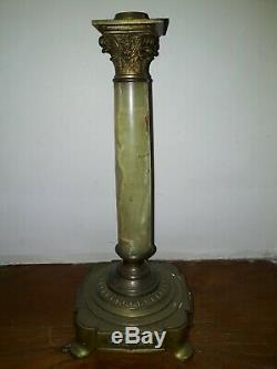 Ancien PIED DE LAMPE A PETROLE EN ONYX ET BRONZE