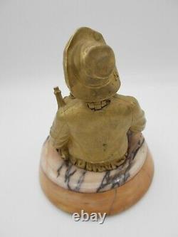 Ancien PYROGENE BRONZE doré / marbre LE CUISINIER dlg de la Maison GIROUX