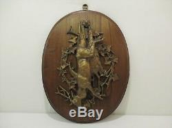 Ancien Trophee Chasse Chevreuil Sculpture Bronze Bas Relief Animalier Gibier