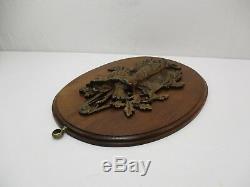 Ancien Trophee Chasse Lievre Sculpture Bronze Bas Relief Animalier Gibier