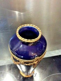 Ancien Vase, Napoléon Iii, Bronze Doré, Xixeme, Bleu De Sevre, Louis XVI