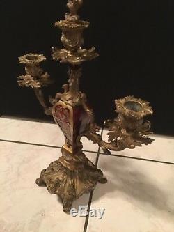Ancien bougeoir chandelier à trois fleurs en Marqueterie Boulle bronze doré XIX