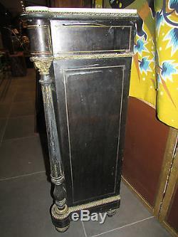 Ancien buffet d appui napoleon III noirci marqueterie boulle nacre 19e bronze