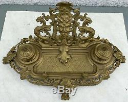 Ancien encrier bronze décor grotesque style LXV Napoléon III, objet décriture