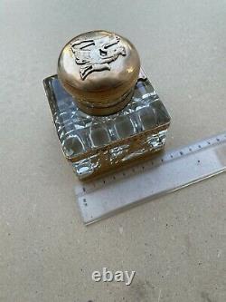 Ancien encrier plumier en cristal et bronze (cheveaux) Empire ou Napoléon III