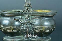Ancien gros double encrier en bronze signé Alphonse Giroux Anges napoleon 3