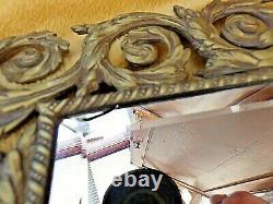 Ancien miroir biseauté Napoléon III-bronze doré-Dieu Soleil/feuilles d'Acanthes