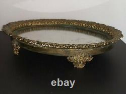 Ancien plateau / surtout de table en bronze doré miroir mercure napoleon III
