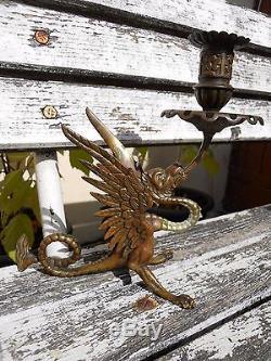 Ancien porte bougie bougeoir en bronze XIXe signé E décor Dragon belle qualité