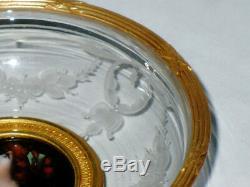 Ancien vide poche en cristal gravé & bronze doré Miniature email de limoges 1900